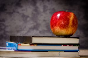 Back to School Seasonal photo with books and an apple